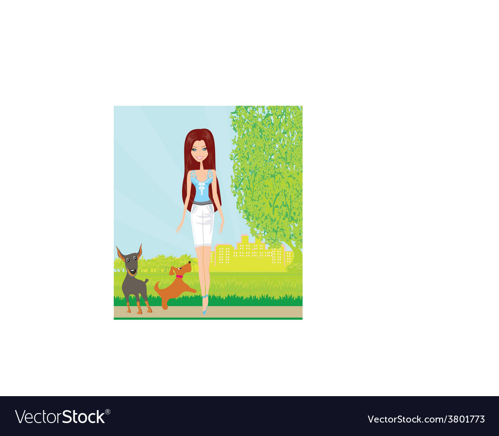 Pretty girl walking the dogs vector   Price: 1 Credit (USD $1)