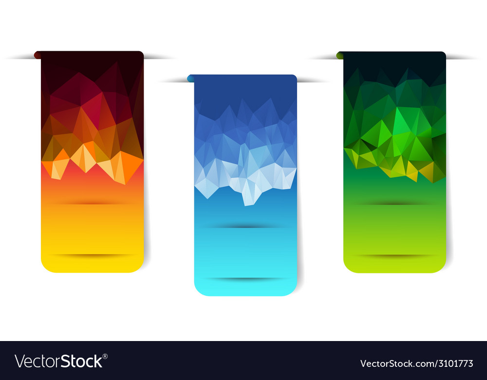 Sticker banner with polygonal element vector | Price: 1 Credit (USD $1)