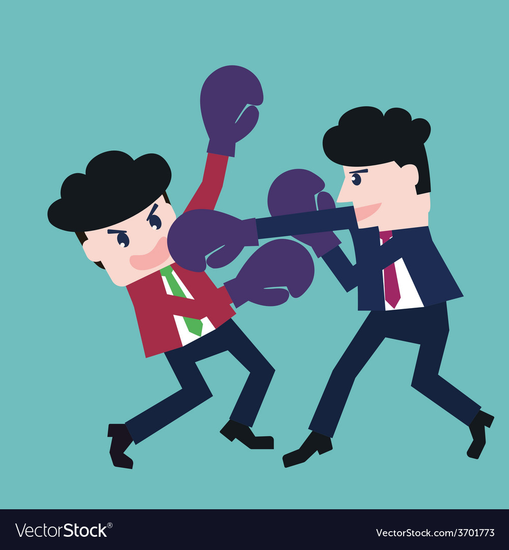 Two businessmen fighting in a boxing with boxing g vector | Price: 1 Credit (USD $1)