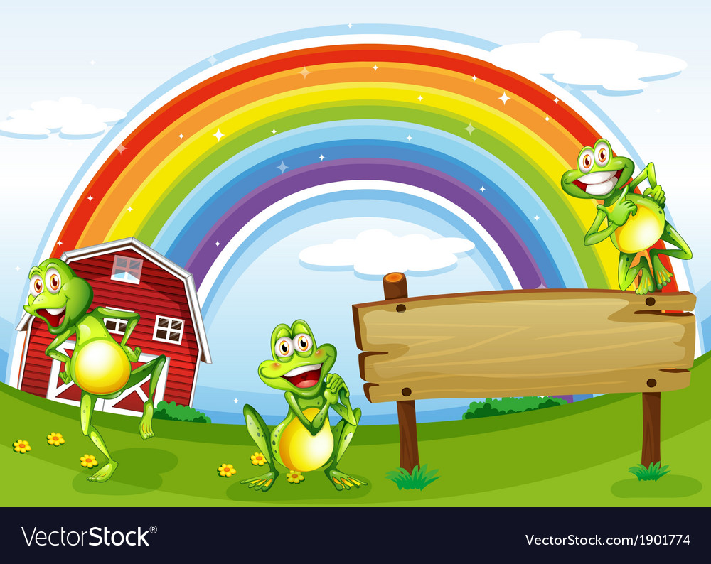An empty wooden board with frogs and a rainbow in vector | Price: 3 Credit (USD $3)