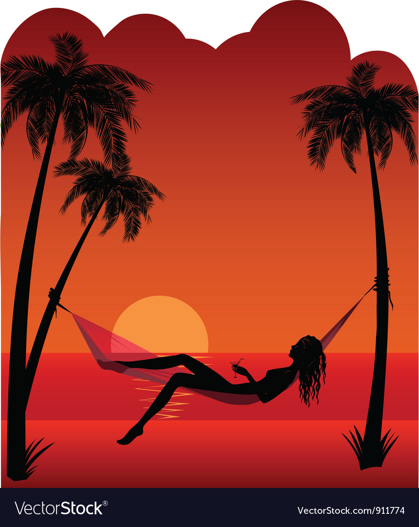 Beautiful girl relaxing in hammock vector | Price: 1 Credit (USD $1)