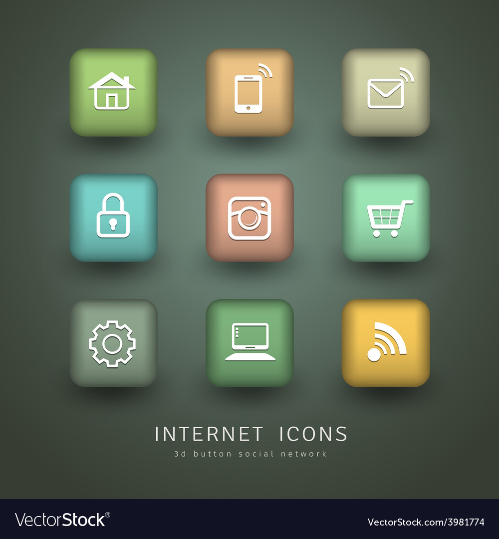Buttons internet icons for social network vector | Price: 1 Credit (USD $1)