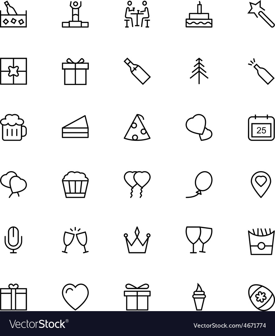 Celebration line icons 2 vector | Price: 1 Credit (USD $1)