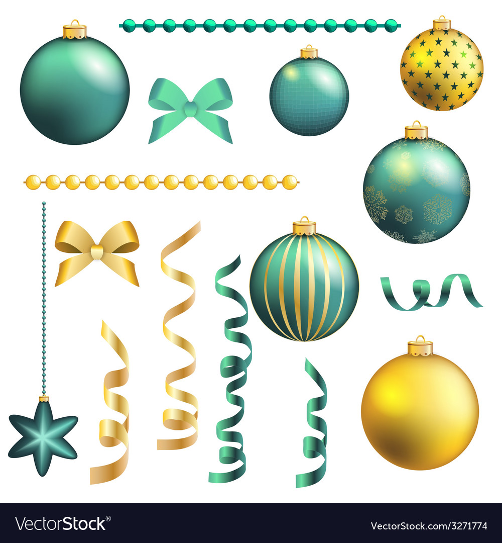 Christmas decorative ball and ribbon set vector | Price: 1 Credit (USD $1)