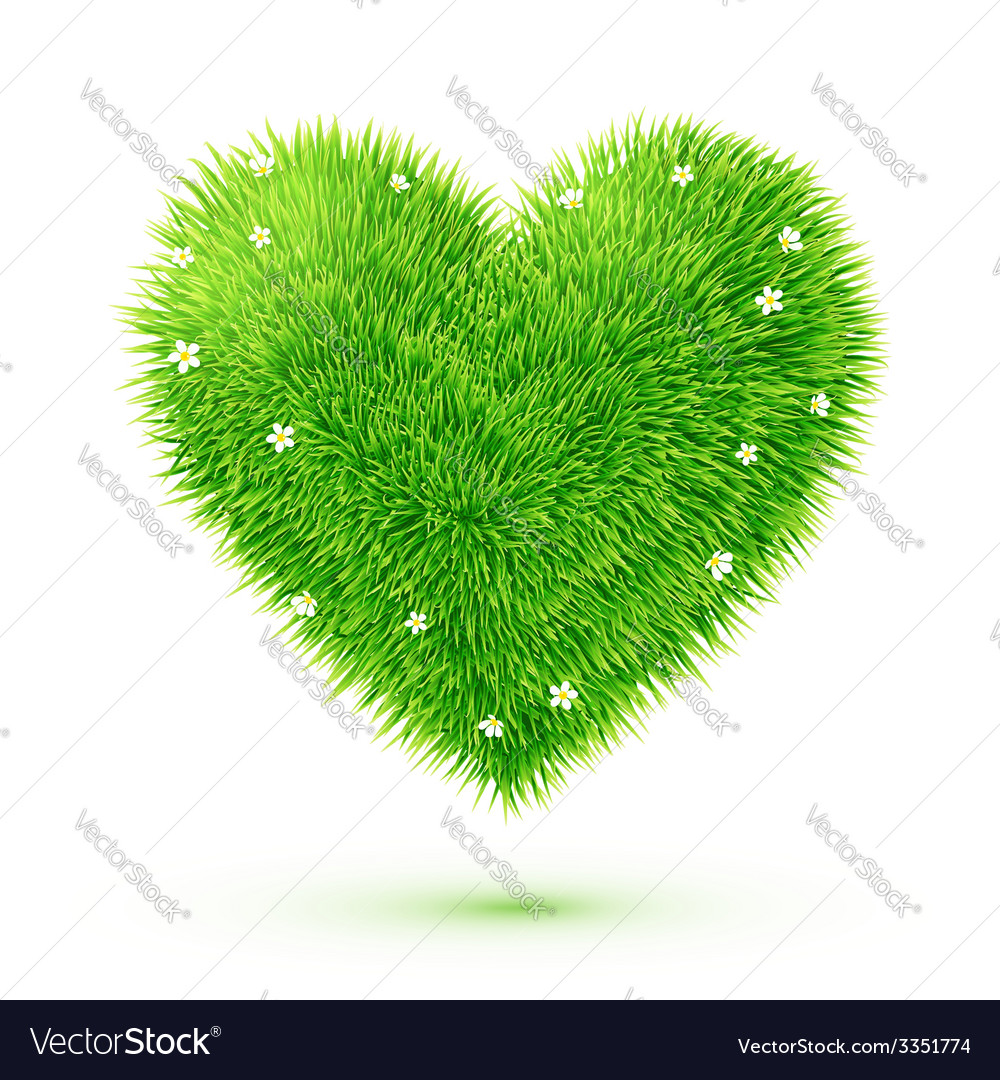 Green fluffy grass eco heart vector | Price: 3 Credit (USD $3)