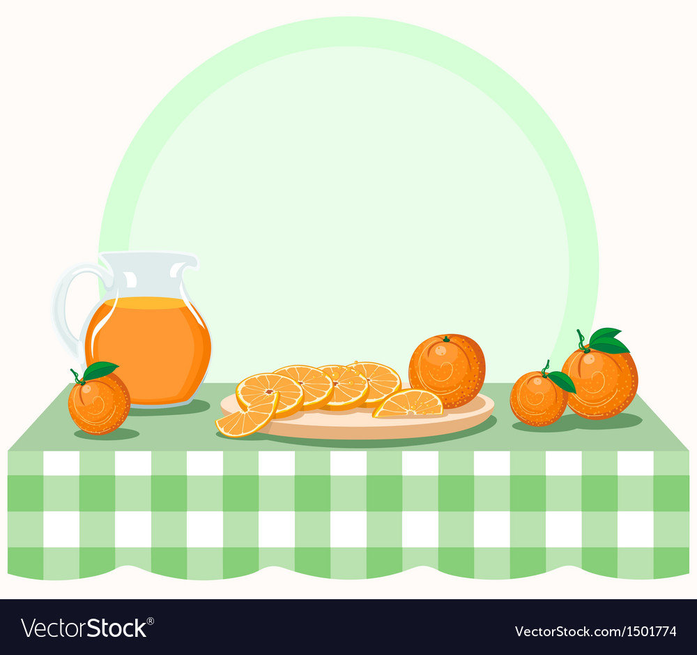 Oranges on checkered tablecloth vector | Price: 1 Credit (USD $1)