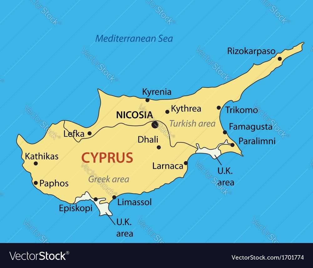 Republic of cyprus - map vector | Price: 1 Credit (USD $1)