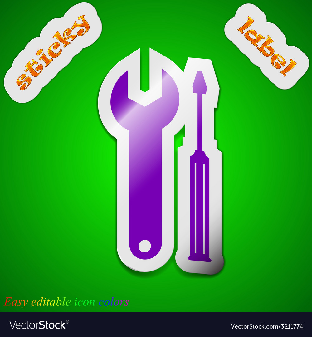 Screwdriver with wrench icon sign symbol chic vector | Price: 1 Credit (USD $1)