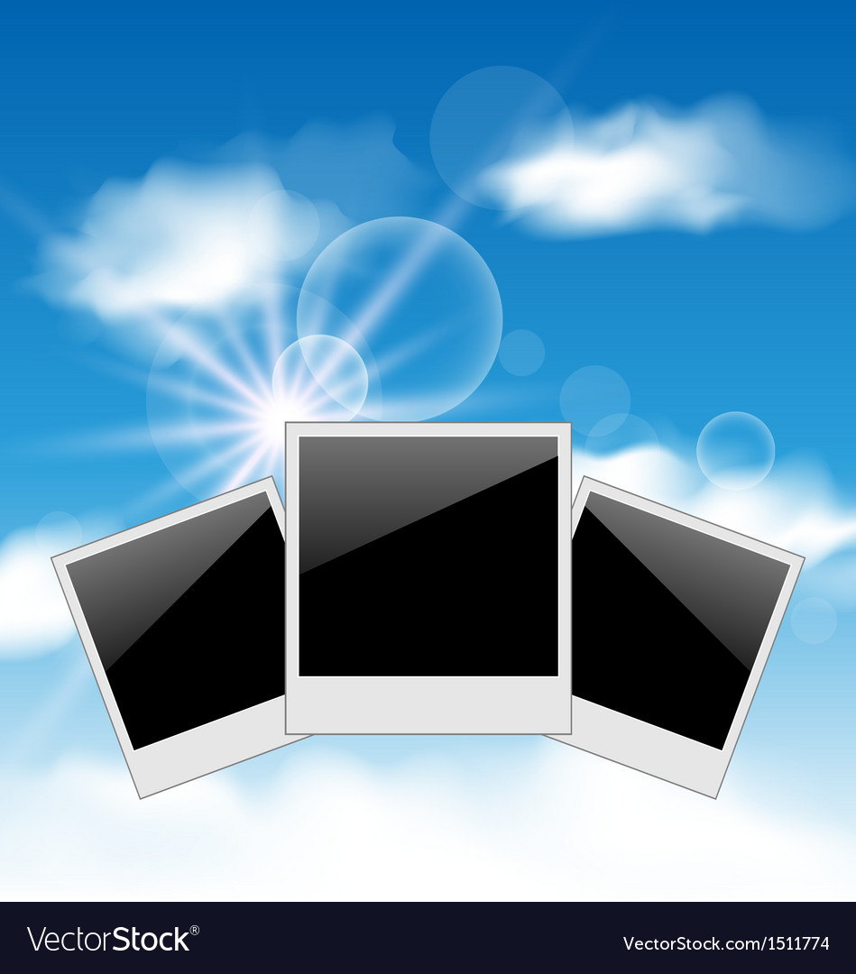 Set pictures on blue sky background vector | Price: 1 Credit (USD $1)