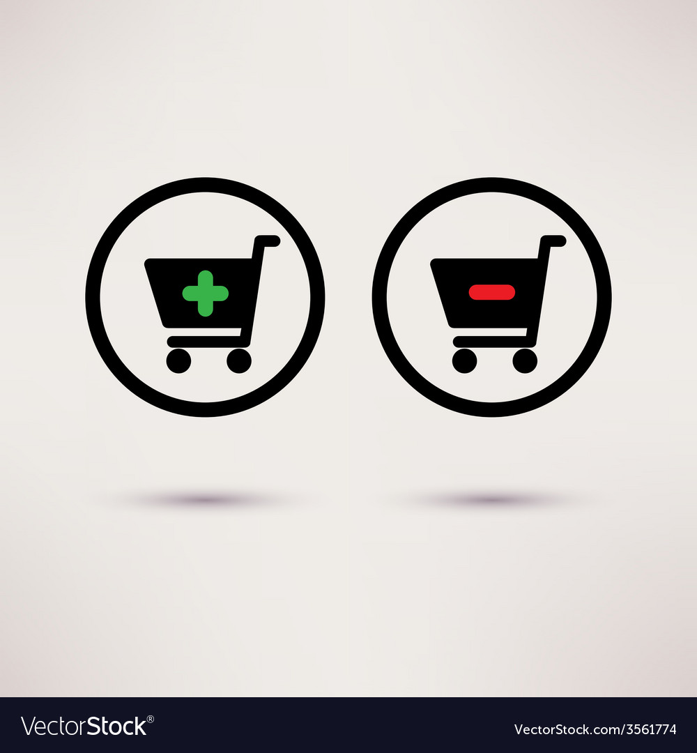 Shopping cart icons plus and minus signs set vector | Price: 1 Credit (USD $1)