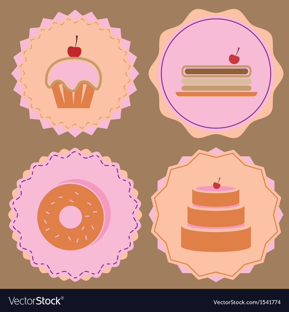 Variety of bakery icon color badges vector | Price: 1 Credit (USD $1)