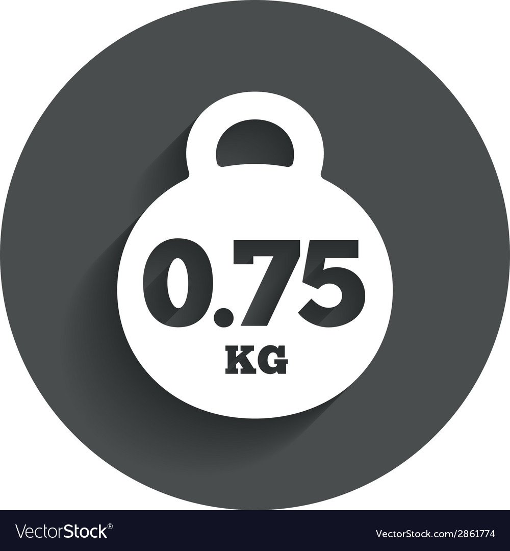Weight sign icon 075 kilogram mail weight vector | Price: 1 Credit (USD $1)