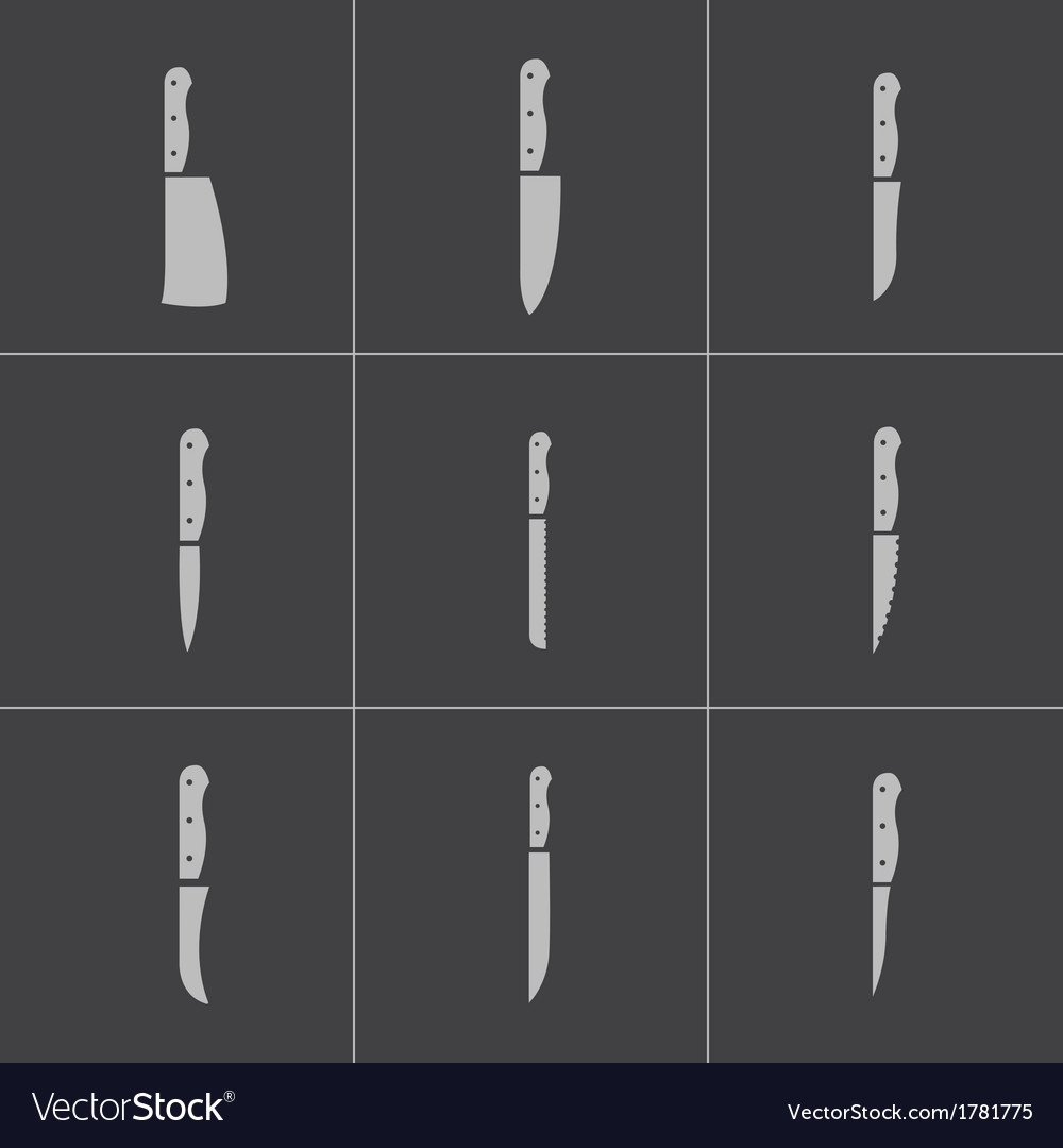 Black kitchen knife icons set vector | Price: 1 Credit (USD $1)