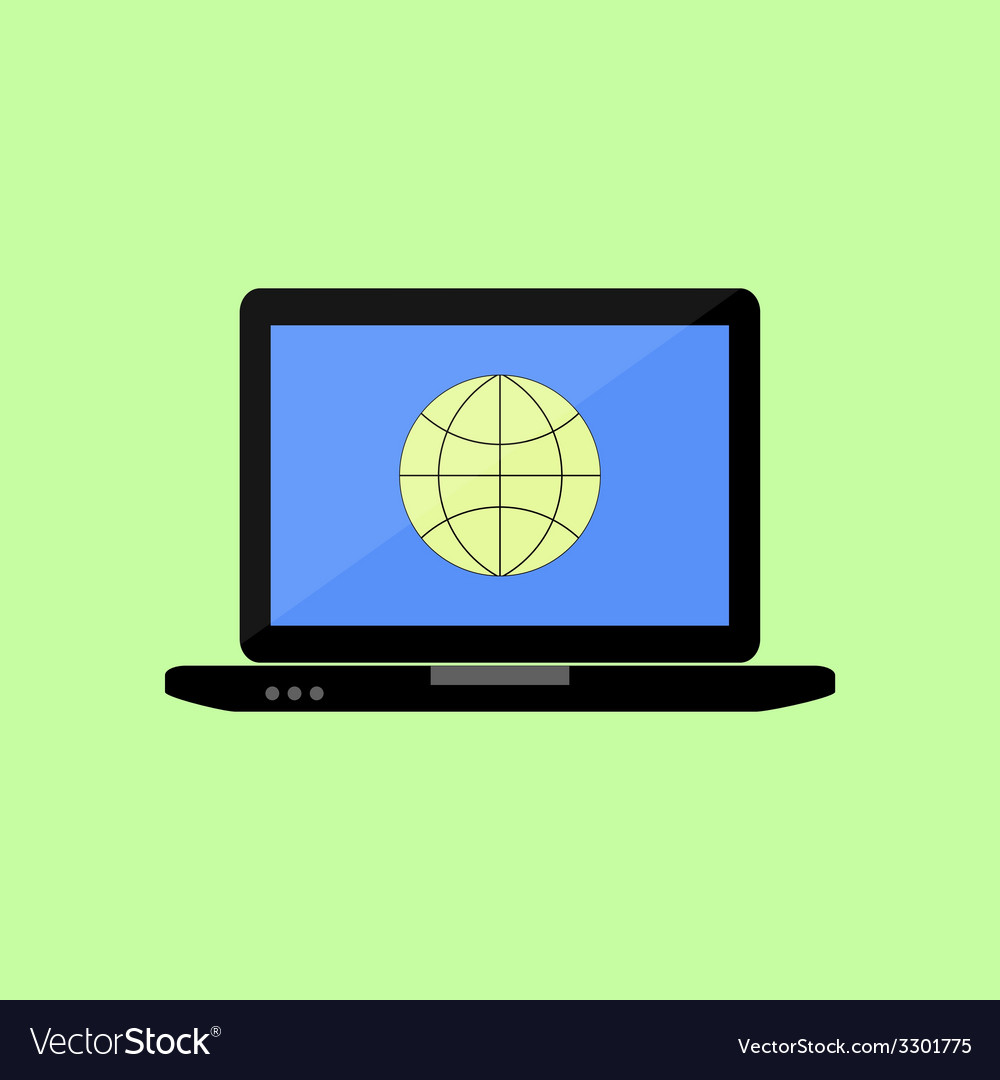 Flat style laptop with internet icon vector | Price: 1 Credit (USD $1)