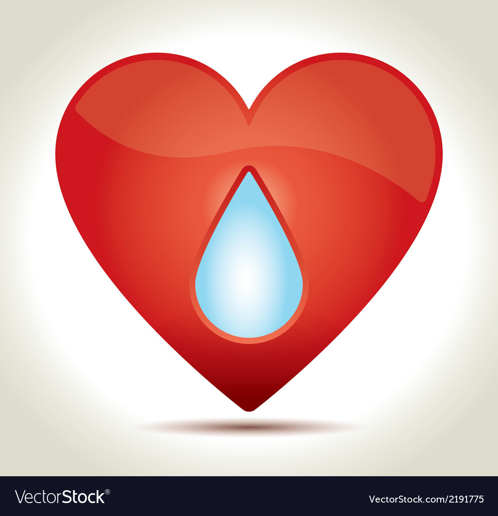 Red heart drop vector | Price: 1 Credit (USD $1)