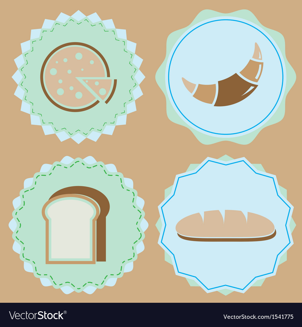 Set of homemade bakery icon color badges vector | Price: 1 Credit (USD $1)