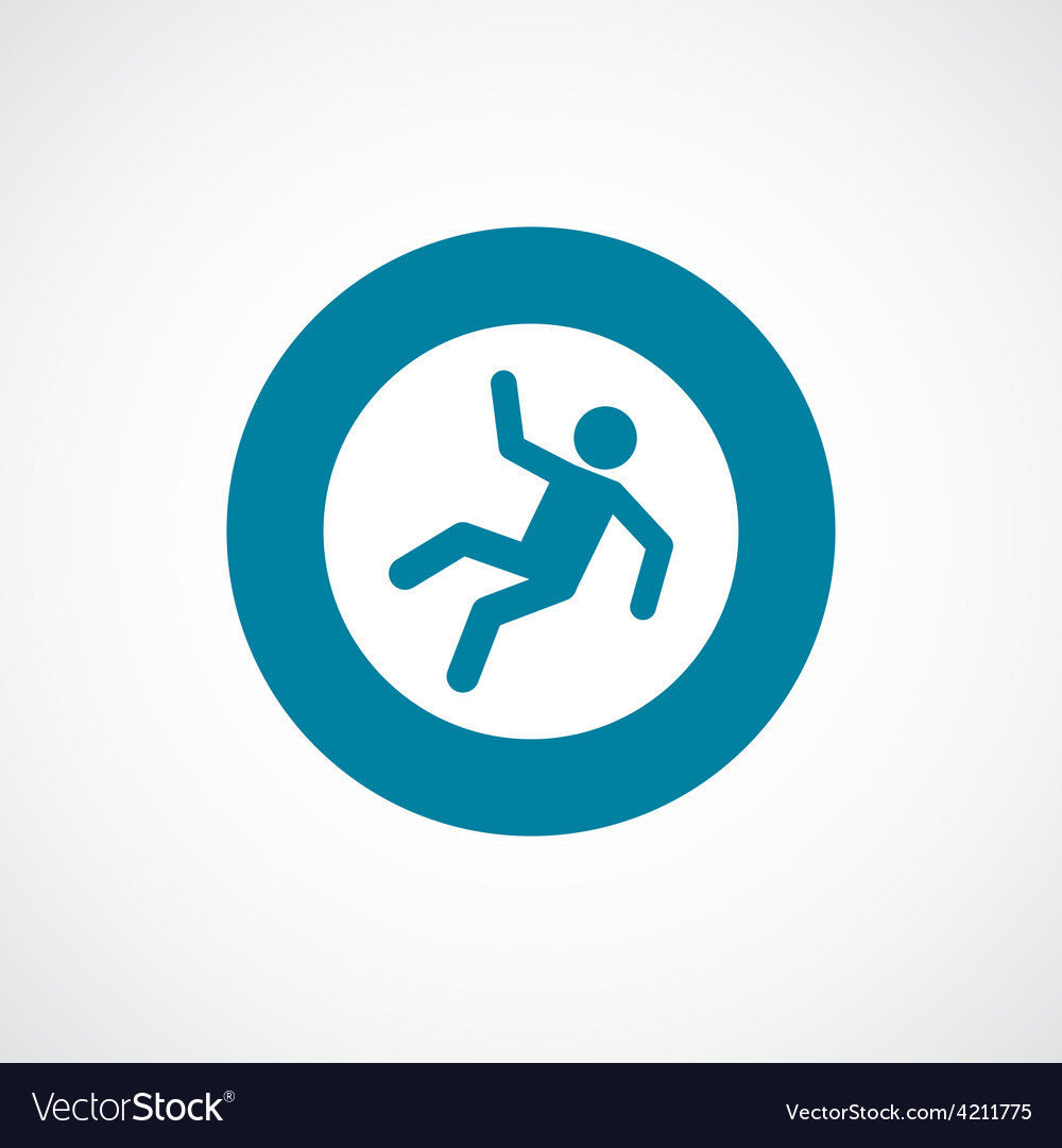 Slippery floor icon bold blue circle border vector | Price: 1 Credit (USD $1)