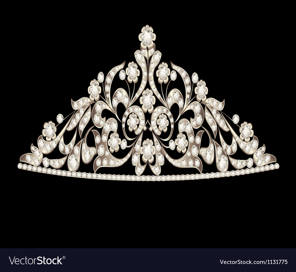 Tiara crown womens wedding precious stones vector | Price: 1 Credit (USD $1)
