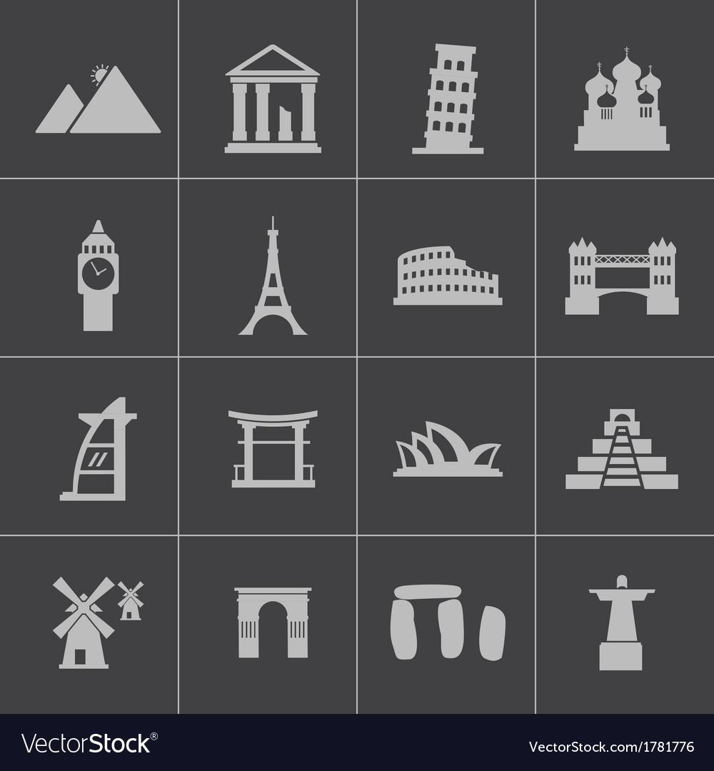 Black landmark icons set vector   Price: 1 Credit (USD $1)