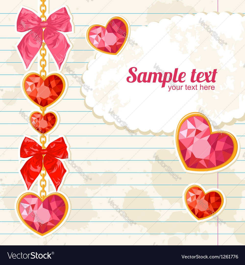 Card with shiny ruby heart pendants hanging vector | Price: 1 Credit (USD $1)
