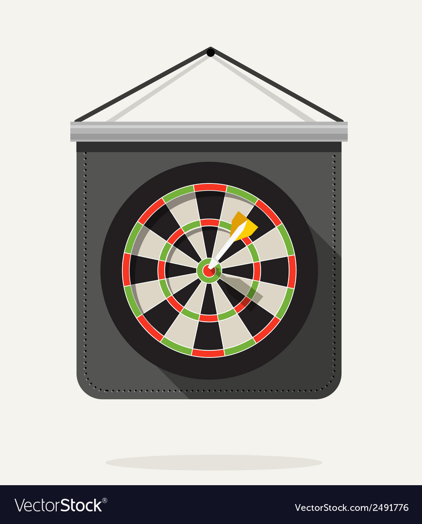 Dart with dartboard flat design vector | Price: 1 Credit (USD $1)