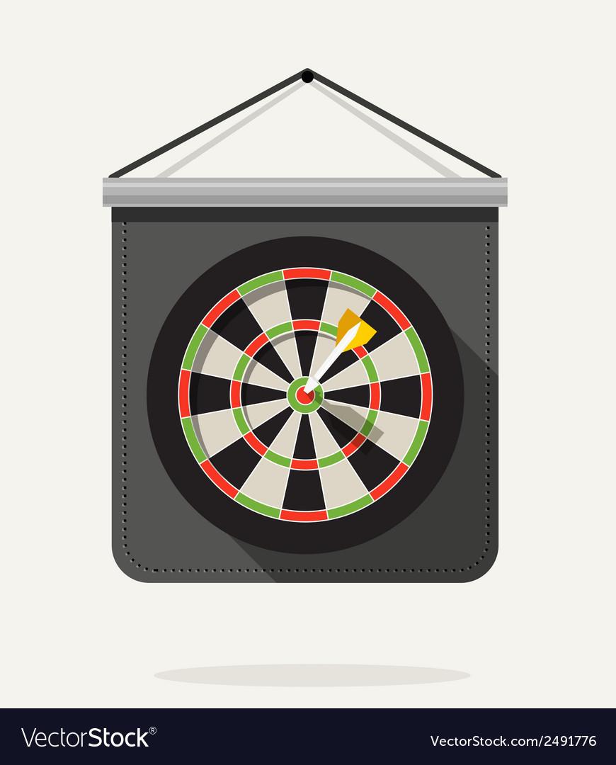 Dart with dartboard flat design vector | Price: 1 Credit (USD $1)