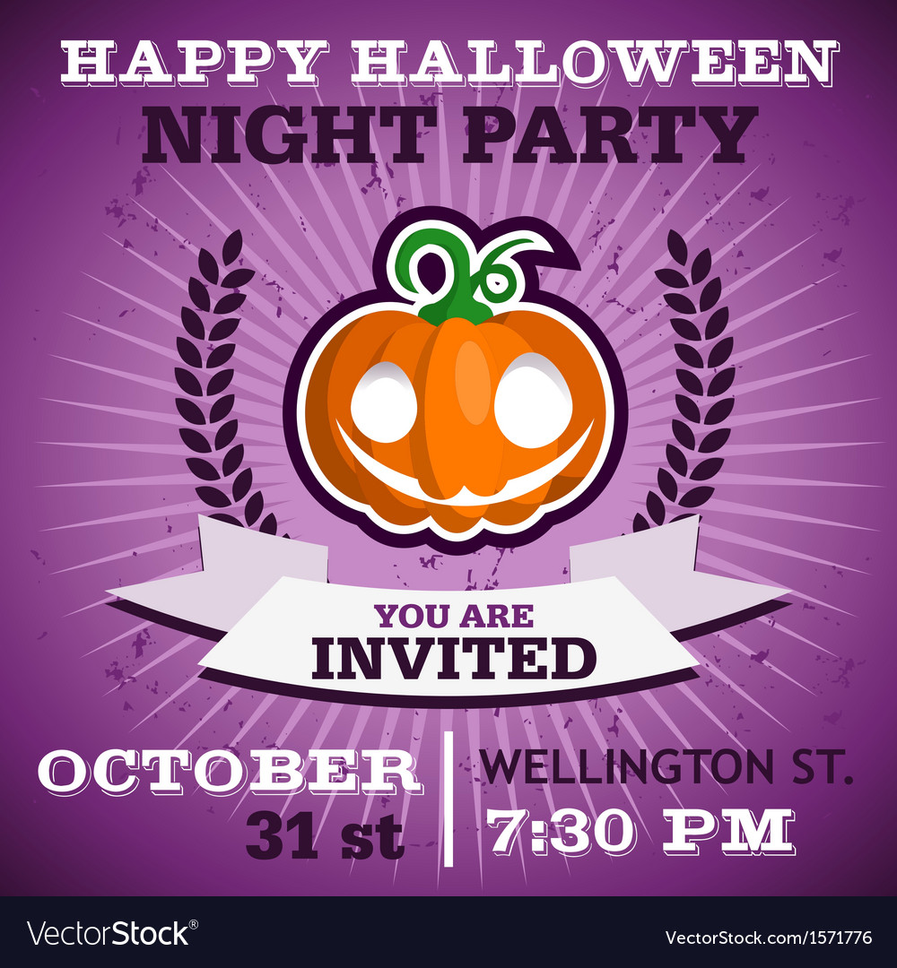 Happy halloween party invitation vector | Price: 1 Credit (USD $1)