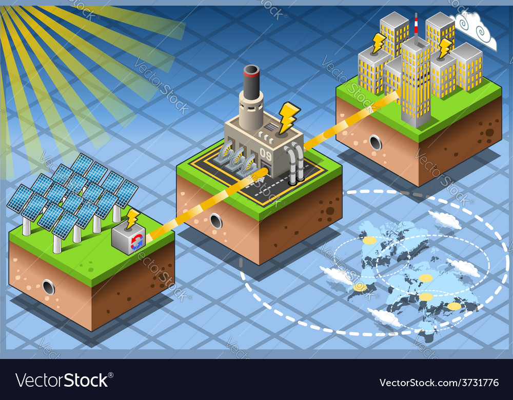 Isometric infographic energy harvesting diagram vector | Price: 3 Credit (USD $3)