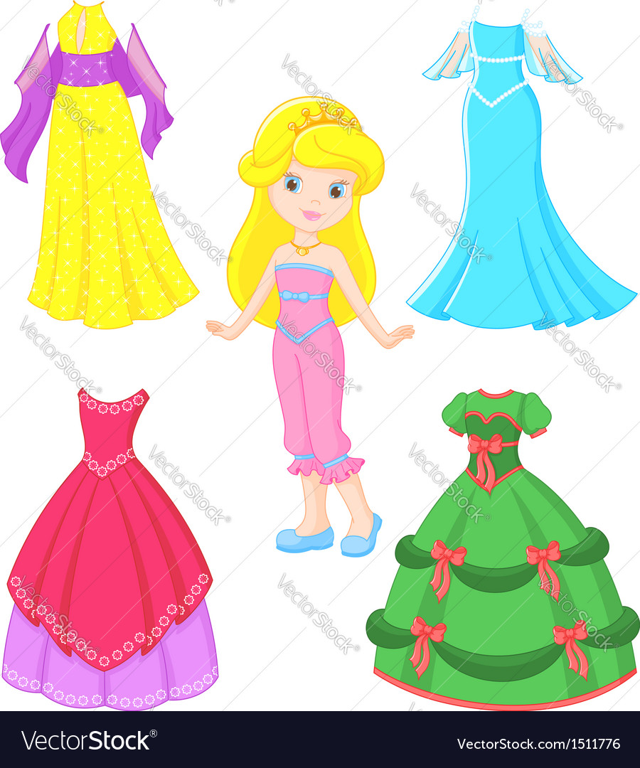 Princess dress vector | Price: 1 Credit (USD $1)