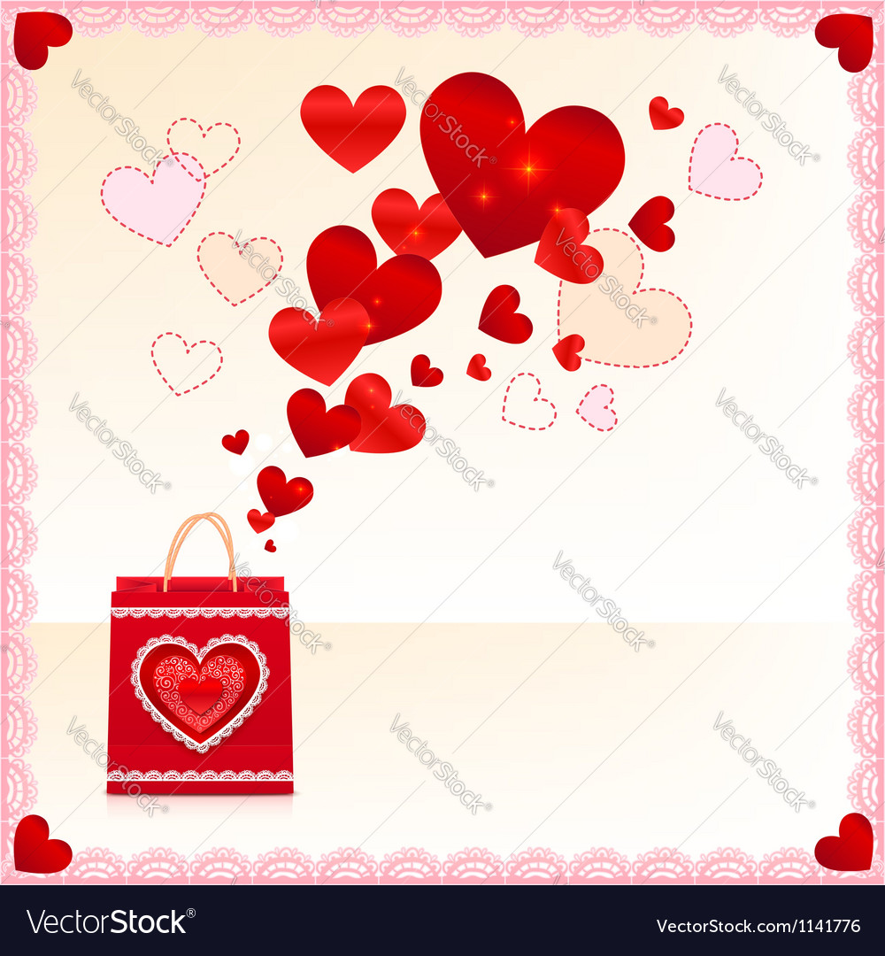 Red paper shopping bag with flying hearts vector | Price: 1 Credit (USD $1)