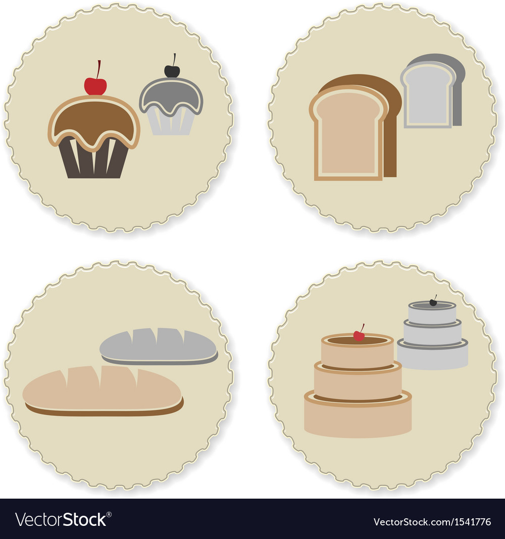 Set of vintage variety bakery badges vector | Price: 1 Credit (USD $1)