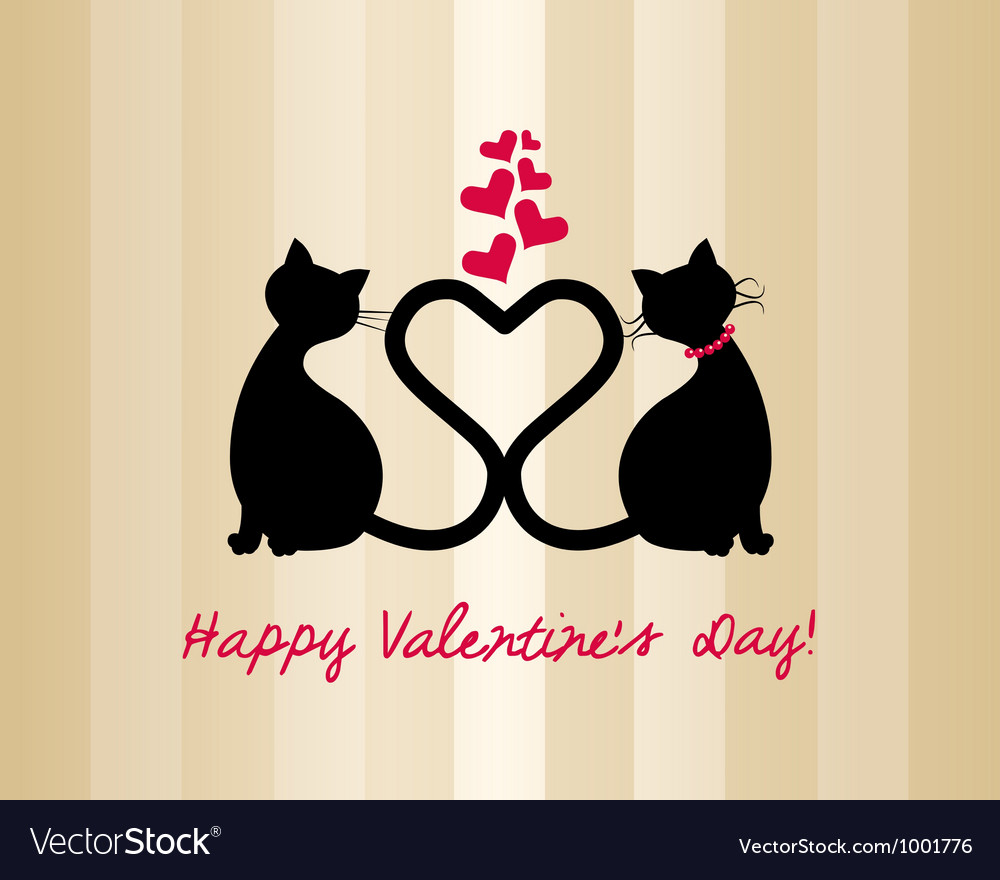 Valentine 2cats vector | Price: 1 Credit (USD $1)