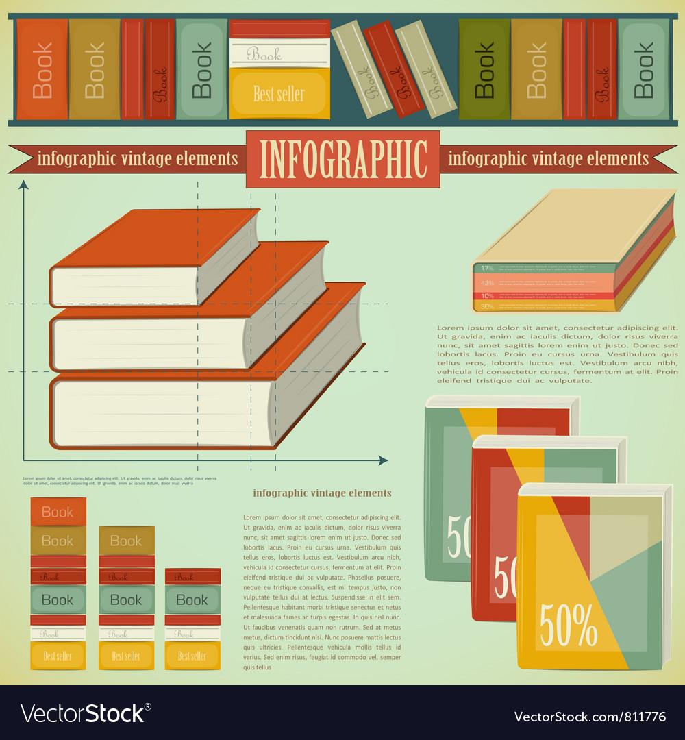 Vintage infographics set - book vector | Price: 3 Credit (USD $3)