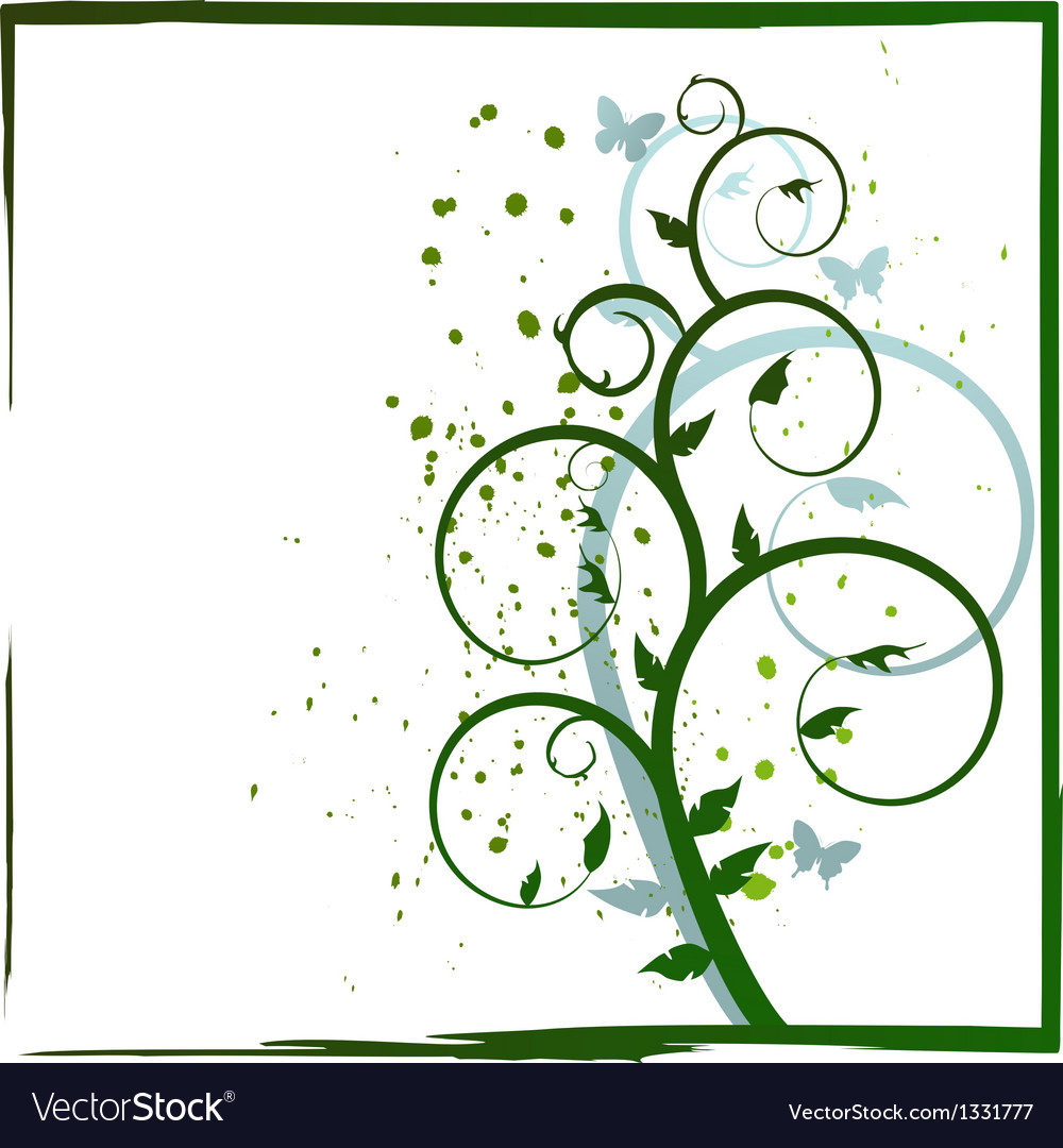 Abstract plant and butterflies vector | Price: 1 Credit (USD $1)