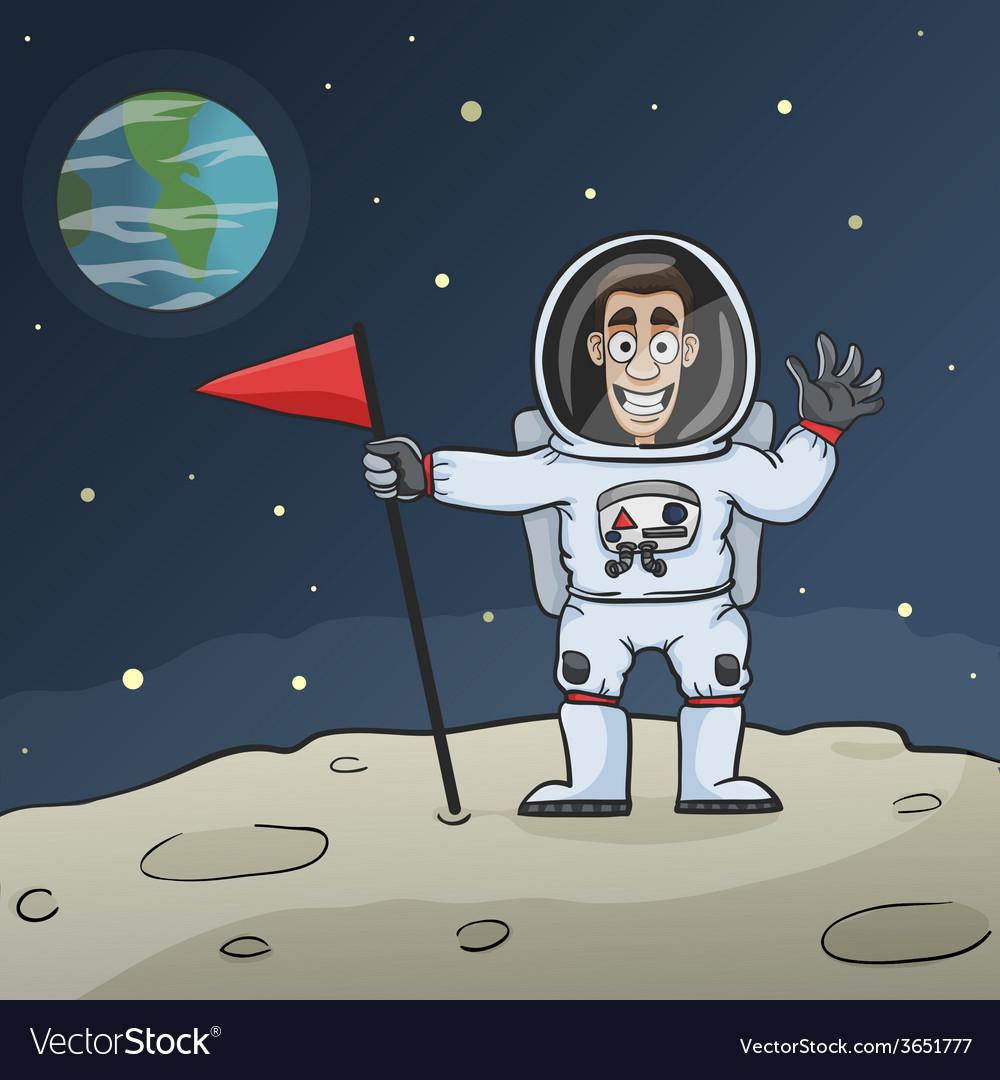 Astronaut on moon vector | Price: 1 Credit (USD $1)