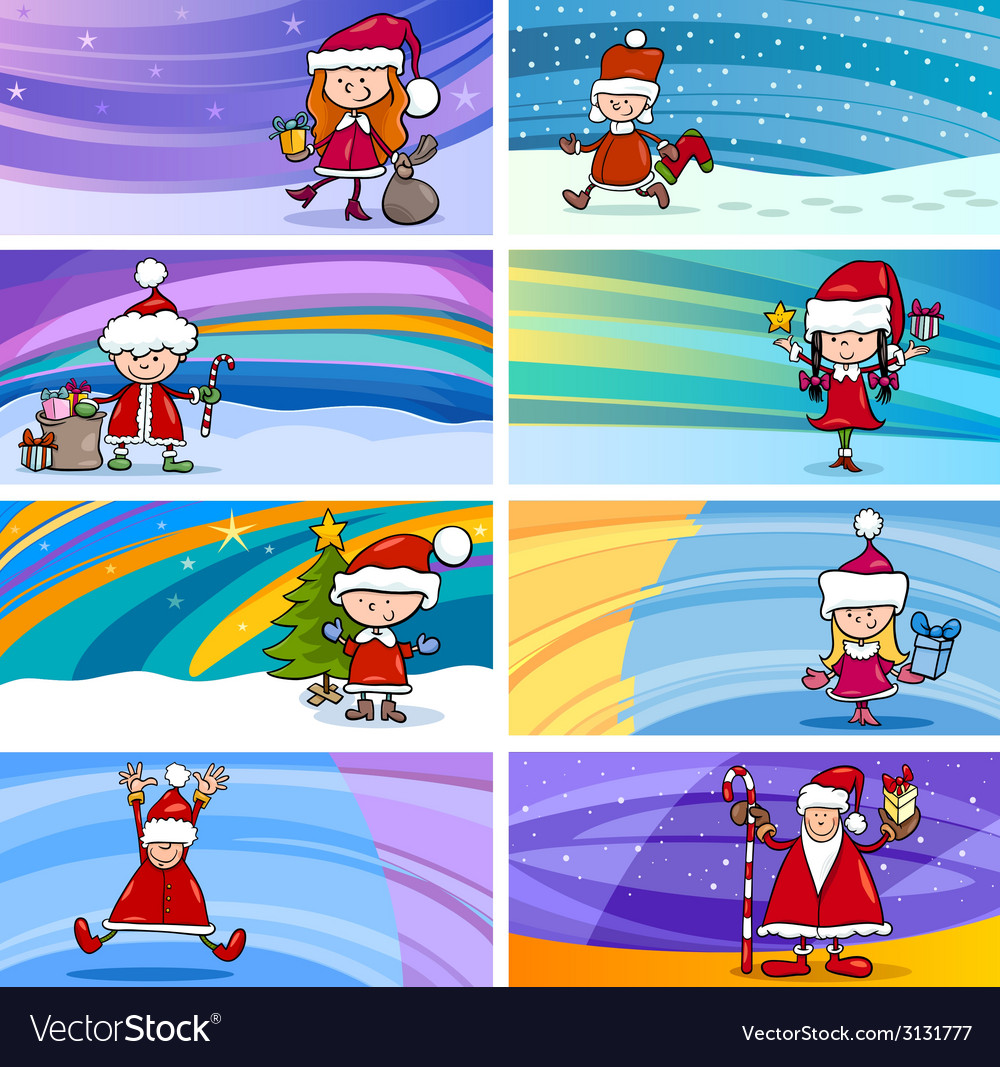 Cartoon greeting cards with children vector