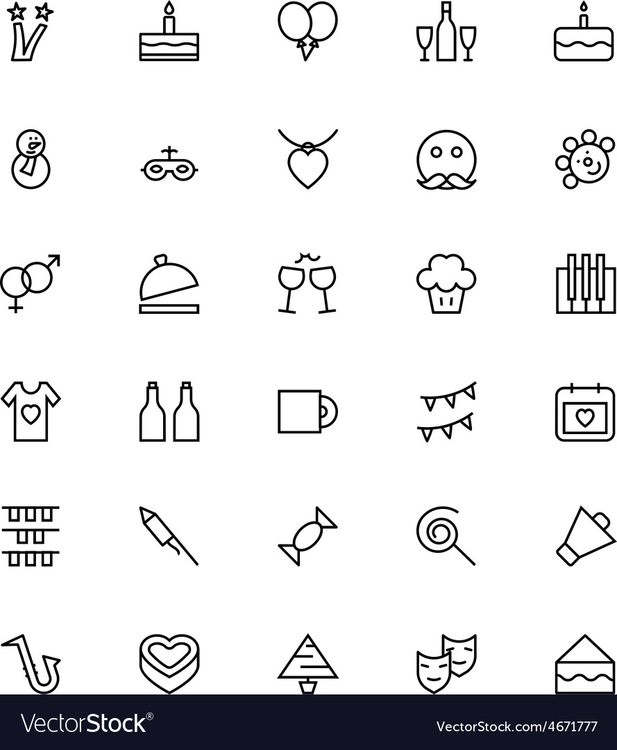 Celebration line icons 3 vector | Price: 1 Credit (USD $1)