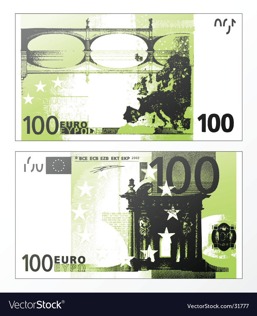 Hundred euro grunge trace vector | Price: 1 Credit (USD $1)