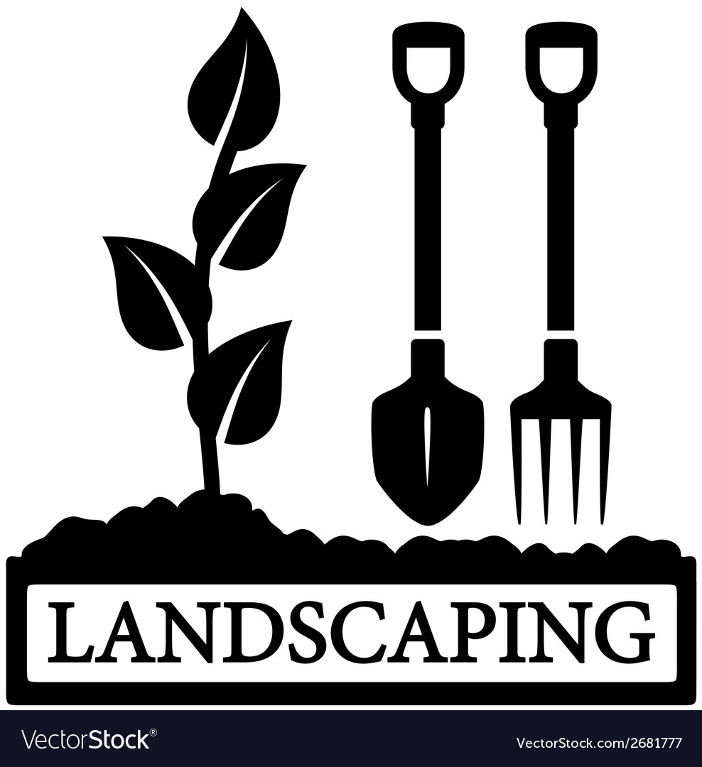 Landscaping icon with sprout and gardening tools vector | Price: 1 Credit (USD $1)