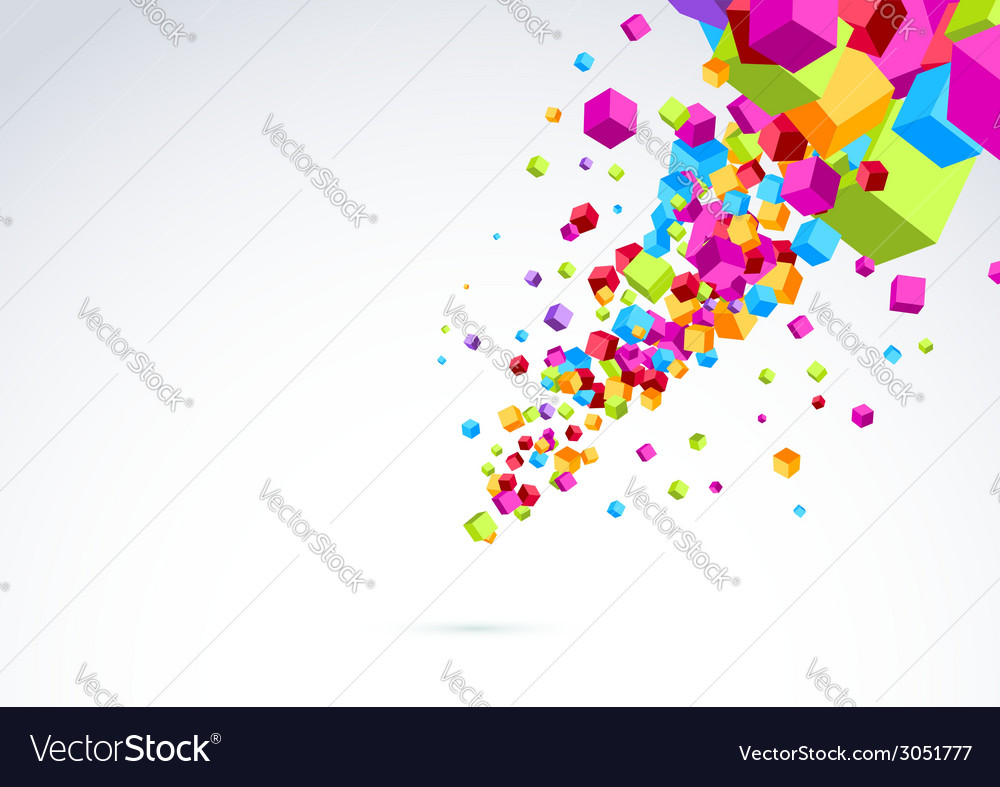 Plastic bright cubes fly out background vector