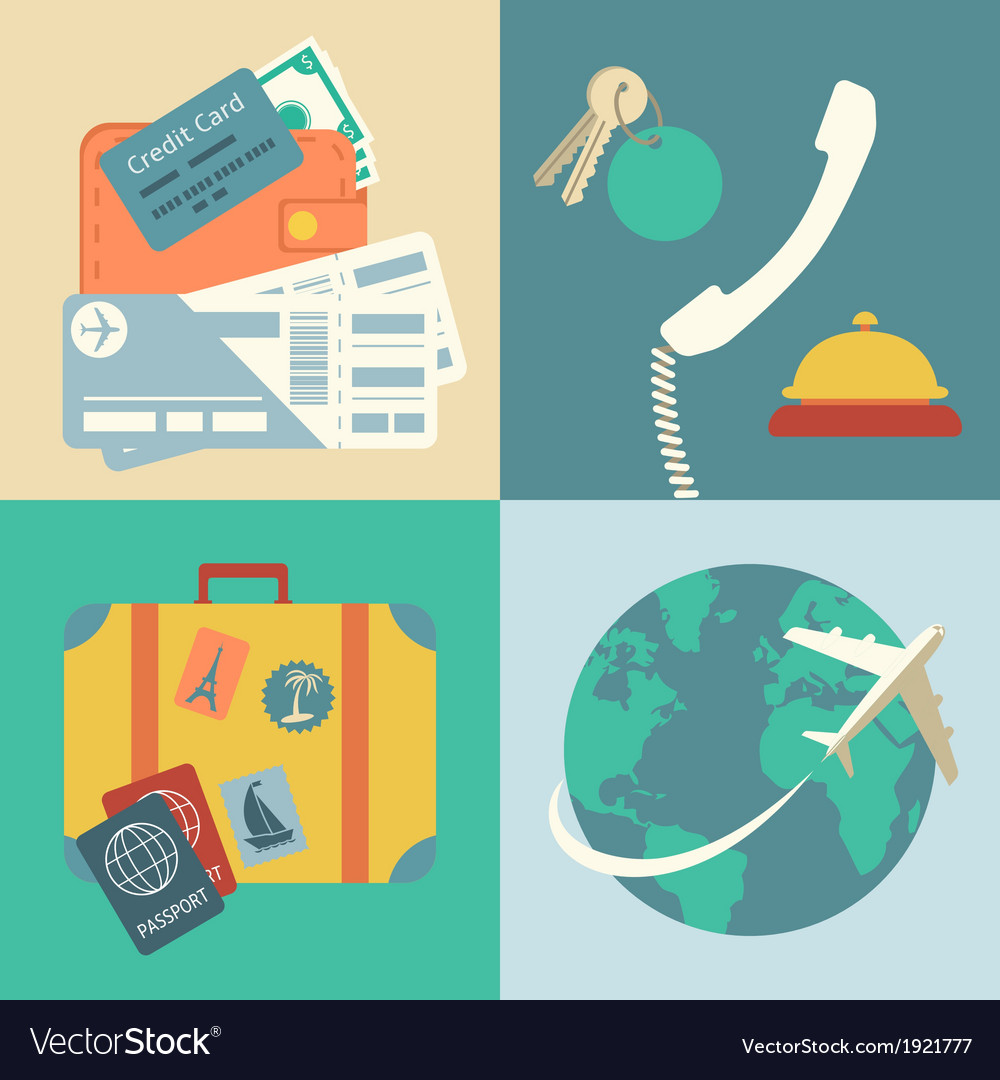 Vacation travel icons set vector | Price: 1 Credit (USD $1)