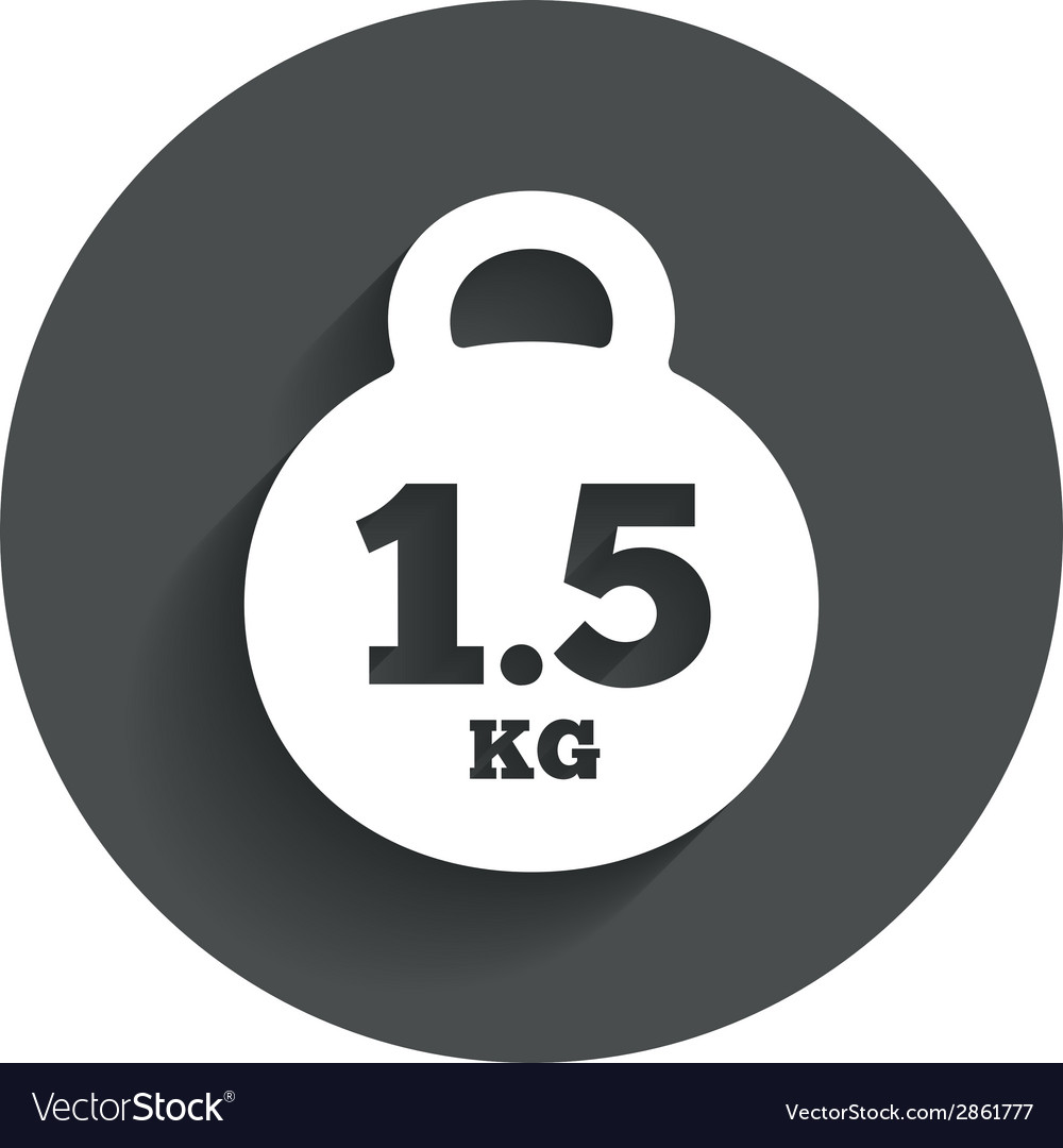 Weight sign icon 15 kilogram kg mail weight vector | Price: 1 Credit (USD $1)