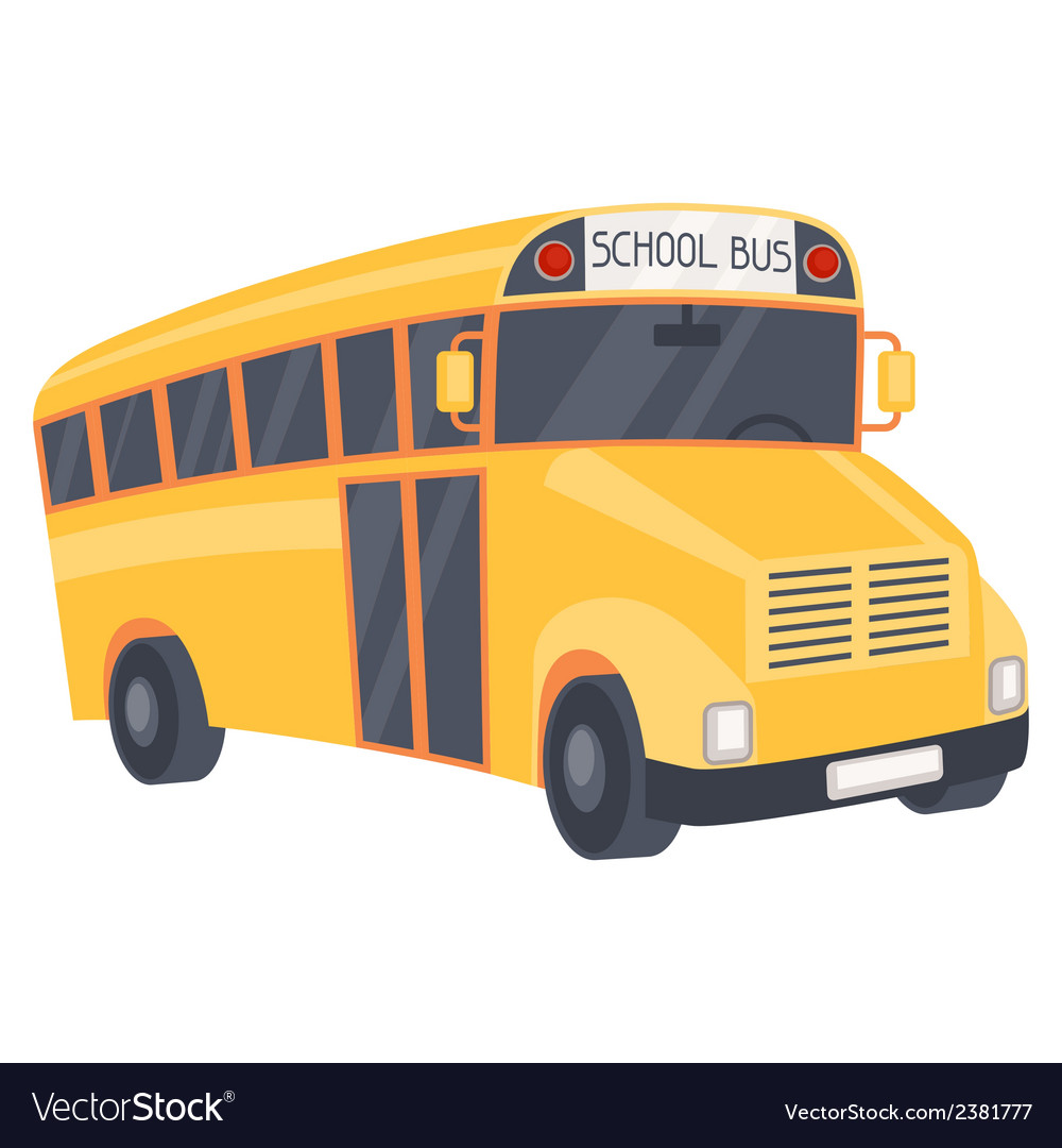 Yellow school bus in cartoon style vector | Price: 1 Credit (USD $1)