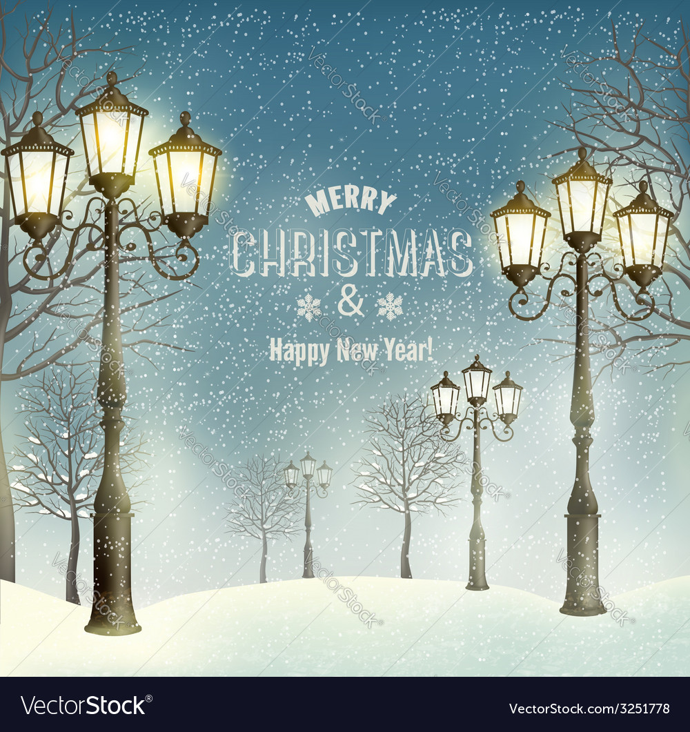 Christmas evening landscape with vintage lampposts vector | Price: 1 Credit (USD $1)