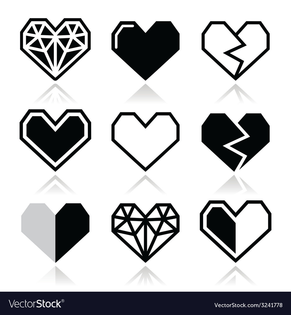 Geometric heart for valentines day icons vector | Price: 1 Credit (USD $1)