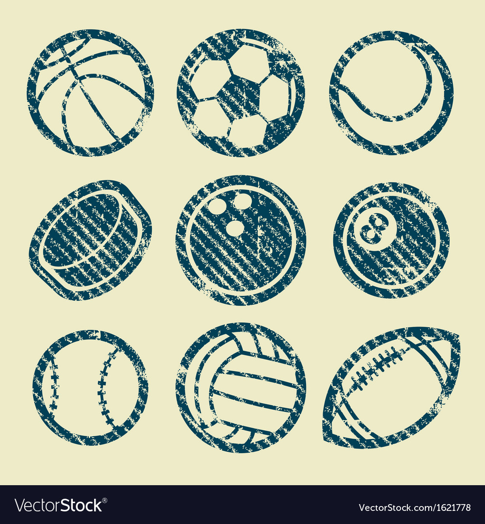 Grunge sport balls stamp icons vector | Price: 1 Credit (USD $1)