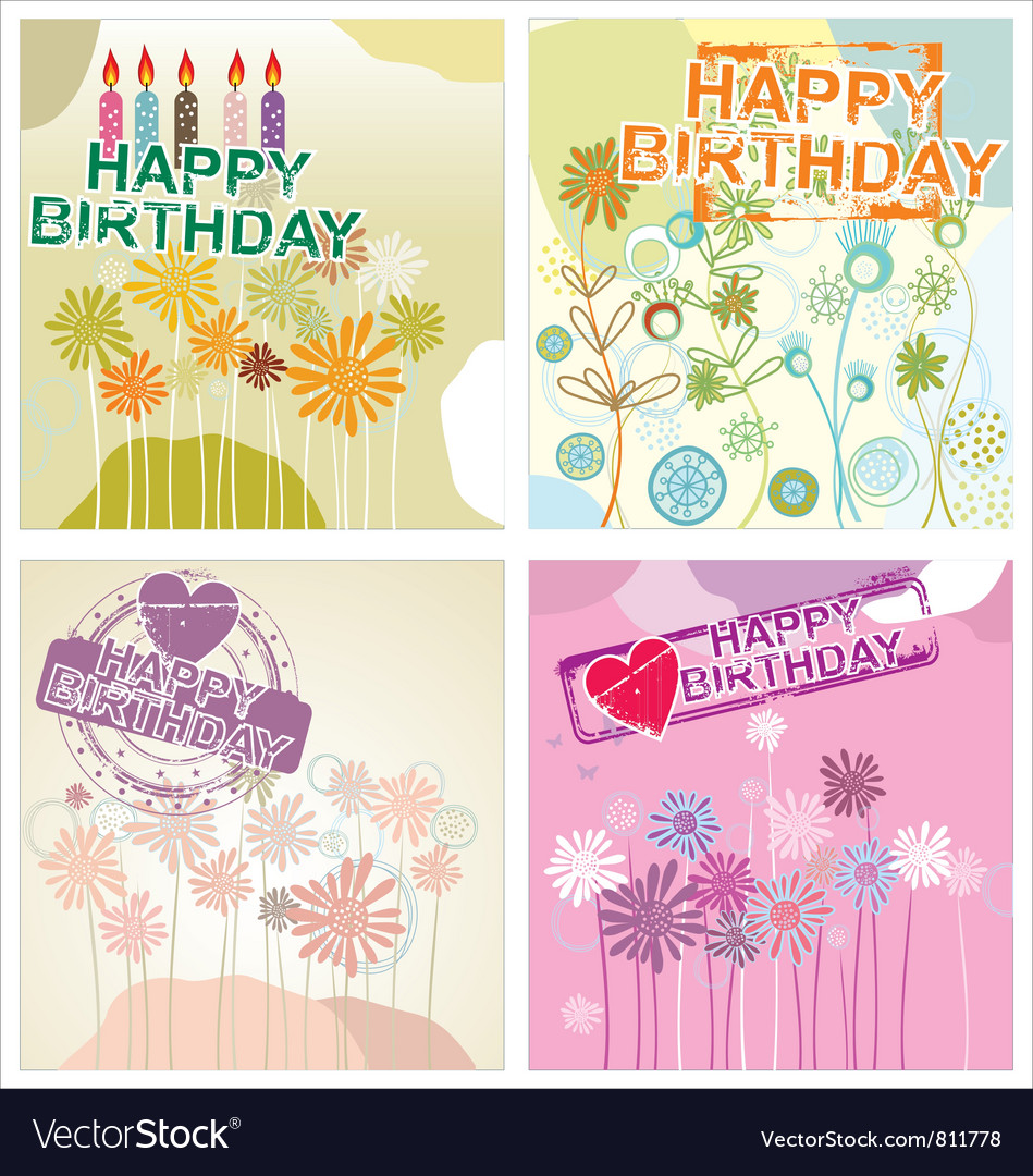 Happy birthday background - floral set vector | Price: 1 Credit (USD $1)