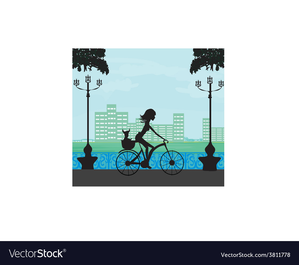 Happy driving bike with cute girl vector | Price: 1 Credit (USD $1)