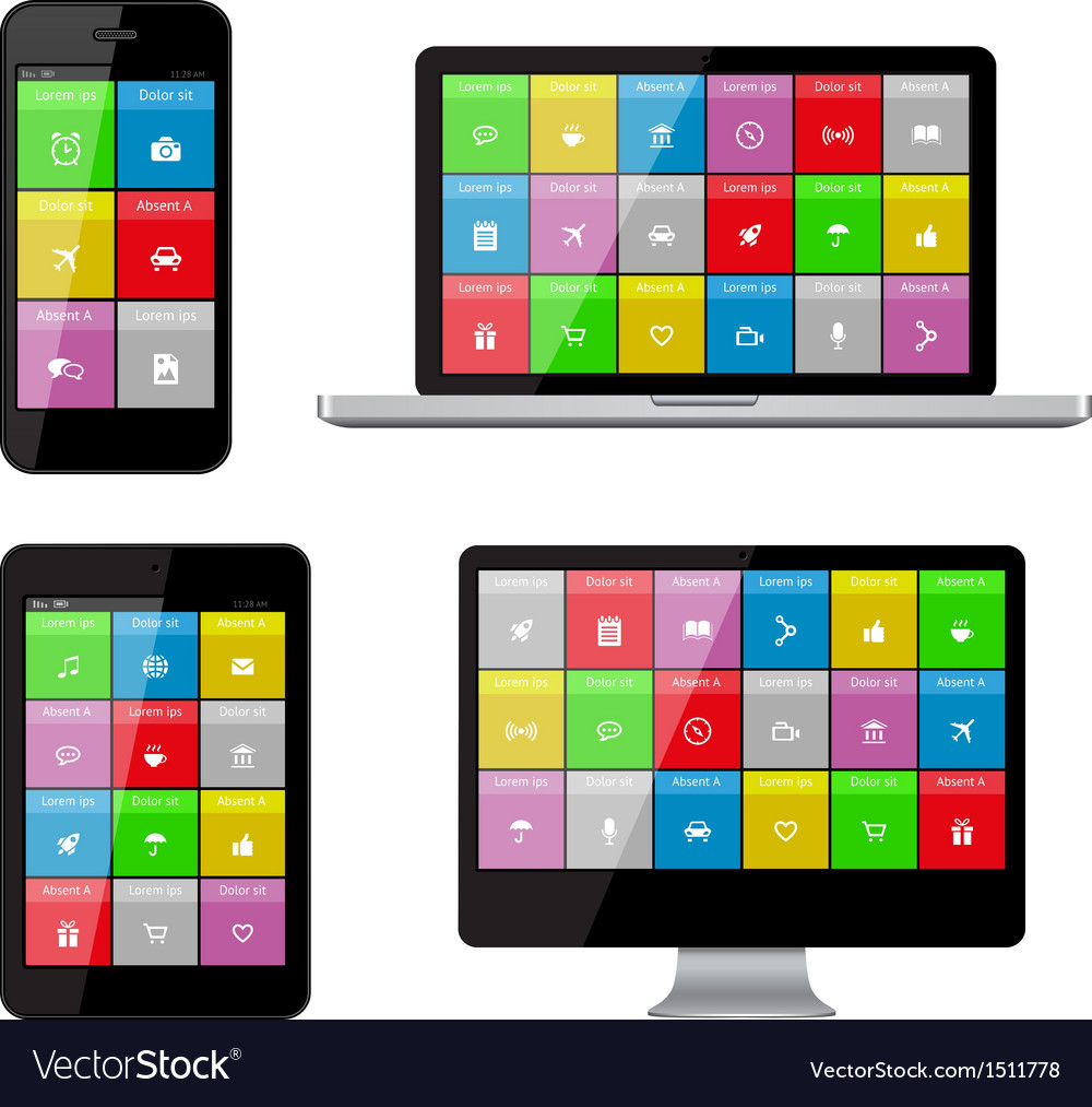Isolated gadgets with ui and web icons vector | Price: 1 Credit (USD $1)