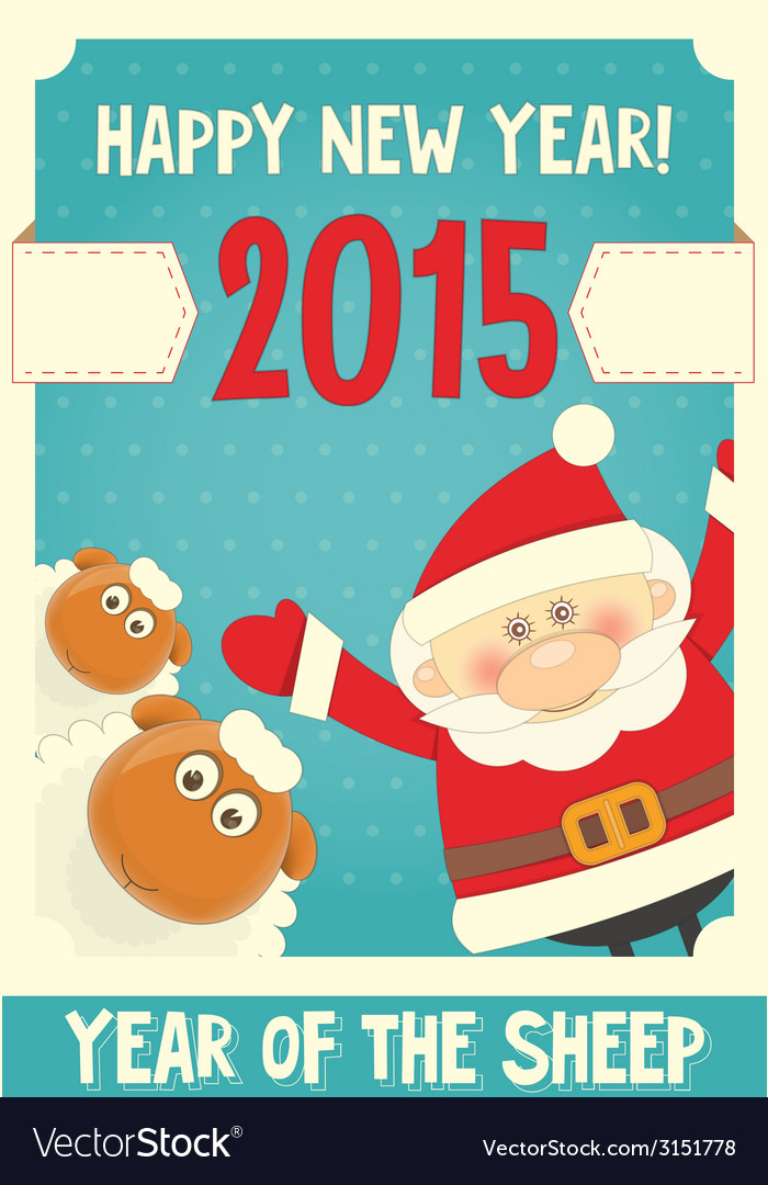 Poster santa and sheep vector | Price: 1 Credit (USD $1)